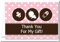 Modern Baby Girl Pink Polka Dots - Baby Shower Thank You Cards