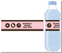 Modern Baby Girl Pink Polka Dots - Personalized Baby Shower Water Bottle Labels