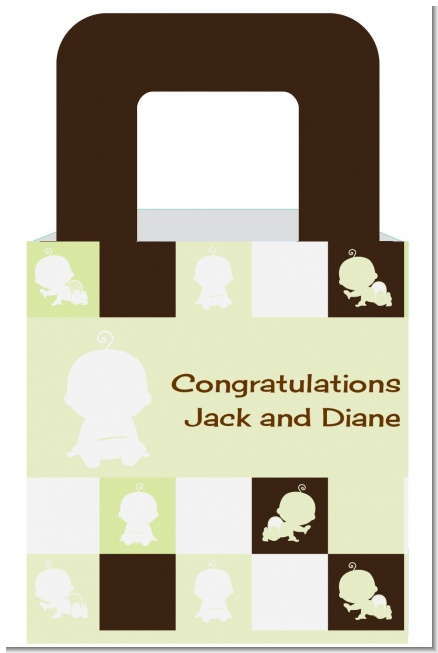 Modern Baby Green & Brown - Personalized Baby Shower Favor Boxes