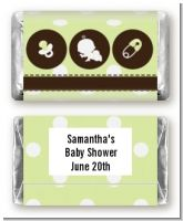 Modern Baby Green Polka Dots - Personalized Baby Shower Mini Candy Bar Wrappers