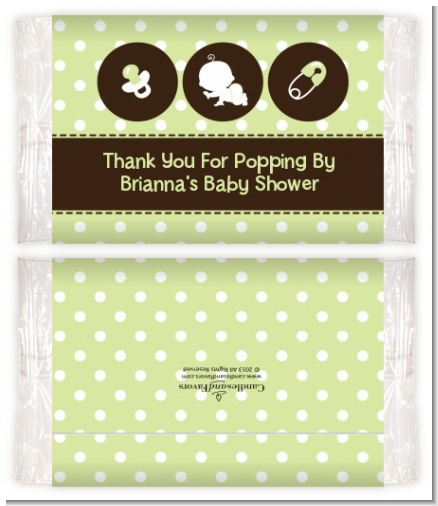 Modern Baby Green Polka Dots - Personalized Popcorn Wrapper Baby Shower Favors
