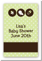 Modern Baby Green Polka Dots - Custom Large Rectangle Baby Shower Sticker/Labels
