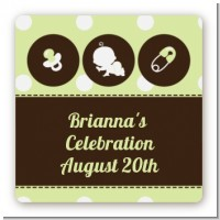 Modern Baby Green Polka Dots - Square Personalized Baby Shower Sticker Labels