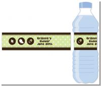 Modern Baby Green Polka Dots - Personalized Baby Shower Water Bottle Labels