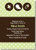 Modern Baby Green Polka Dots - Baby Shower Invitations
