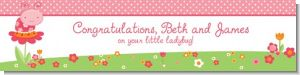 Modern Ladybug Pink - Personalized Birthday Party Banners