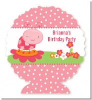Modern Ladybug Pink - Personalized Birthday Party Centerpiece Stand