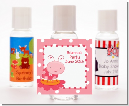 Modern Ladybug Pink - Personalized Birthday Party Hand Sanitizers Favors