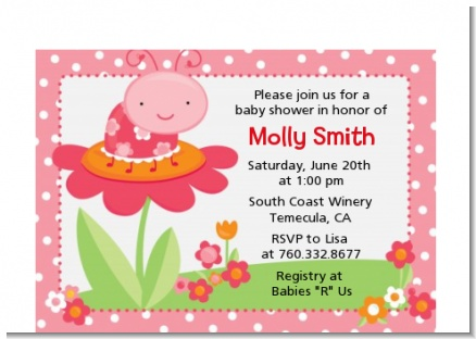 Modern Ladybug Pink - Birthday Party Petite Invitations