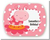 Modern Ladybug Pink - Personalized Birthday Party Rounded Corner Stickers