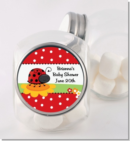 Modern Ladybug Red - Personalized Birthday Party Candy Jar