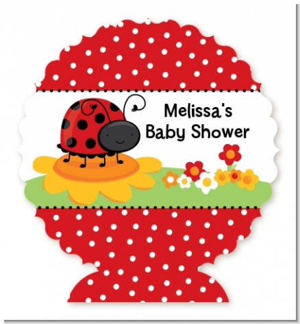 Modern Ladybug Red - Personalized Baby Shower Centerpiece Stand