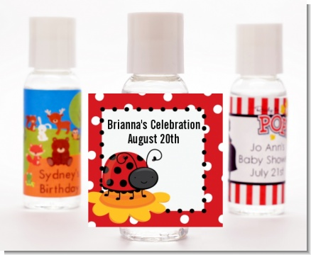 Modern Ladybug Red - Personalized Baby Shower Hand Sanitizers Favors