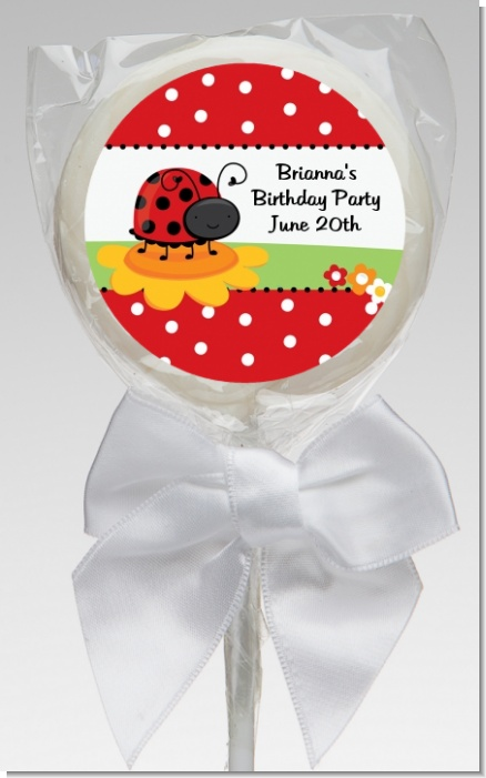 Modern Ladybug Red - Personalized Baby Shower Lollipop Favors