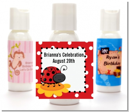 Modern Ladybug Red - Personalized Birthday Party Lotion Favors