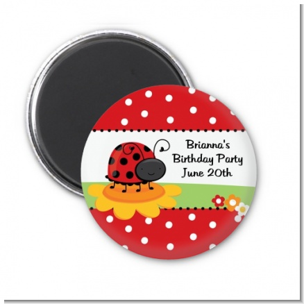 Modern Ladybug Red - Personalized Birthday Party Magnet Favors