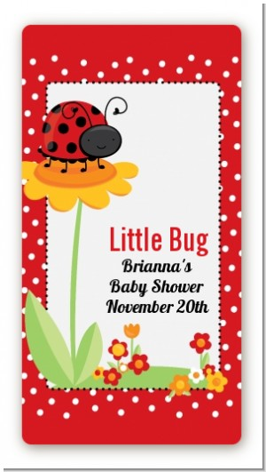 Modern Ladybug Red - Custom Rectangle Baby Shower Sticker/Labels
