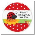 Modern Ladybug Red - Round Personalized Birthday Party Sticker Labels thumbnail