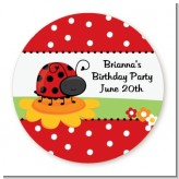 Modern Ladybug Red - Round Personalized Birthday Party Sticker Labels