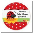 Modern Ladybug Red - Round Personalized Baby Shower Sticker Labels thumbnail