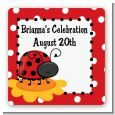 Modern Ladybug Red - Square Personalized Birthday Party Sticker Labels thumbnail