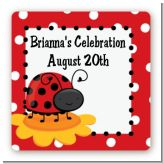 Modern Ladybug Red - Square Personalized Birthday Party Sticker Labels