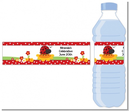 Modern Ladybug Red - Personalized Baby Shower Water Bottle Labels