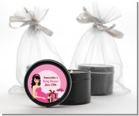 Modern Mommy Crib It's A Girl - Baby Shower Black Candle Tin Favors