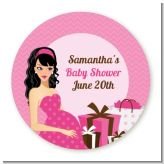 Modern Mommy Crib It's A Girl - Round Personalized Baby Shower Sticker Labels