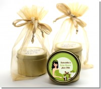 Modern Mommy Crib Neutral - Baby Shower Gold Tin Candle Favors