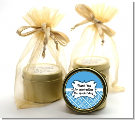 Modern Thatch Blue -  Gold Tin Candle Favors