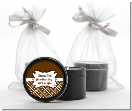 Modern Thatch Brown -  Black Candle Tin Favors