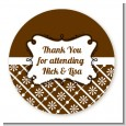Modern Thatch Brown - Personalized Everyday Party Round Sticker Labels thumbnail
