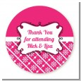 Modern Thatch Fuschia - Personalized Everyday Party Round Sticker Labels thumbnail