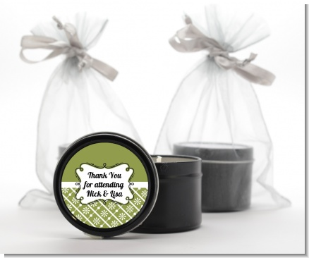 Modern Thatch Green -  Black Candle Tin Favors