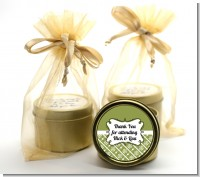 Modern Thatch Green - Gold Tin Candle Favors