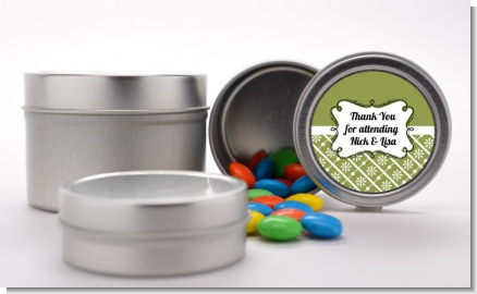 Modern Thatch Green - Custom  Favor Tins
