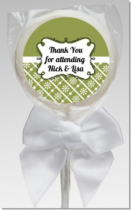 Modern Thatch Green - Personalized  Lollipop Favors