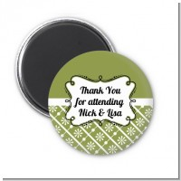 Modern Thatch Green - Personalized Magnet Favors