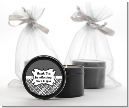 Modern Thatch Grey -  Black Candle Tin Favors