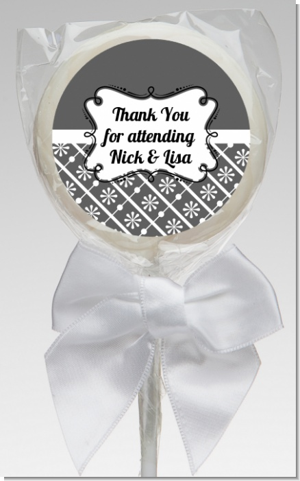 Modern Thatch Grey - Personalized  Lollipop Favors