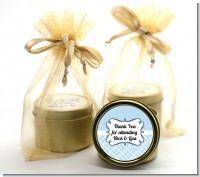 Modern Thatch Light Blue - Gold Tin Candle Favors