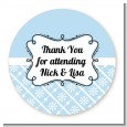 Modern Thatch Light Blue - Personalized Everyday Party Round Sticker Labels thumbnail