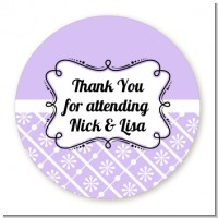 Modern Thatch Lilac - Personalized Everyday Party Round Sticker Labels