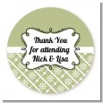 Modern Thatch Olive - Personalized Everyday Party Round Sticker Labels thumbnail