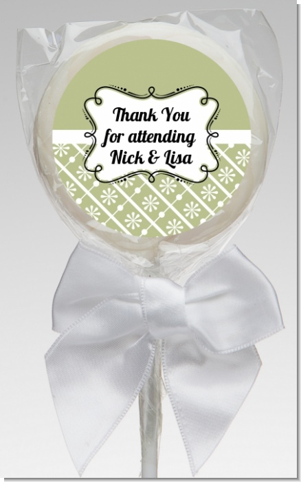 Modern Thatch Olive - Personalized  Lollipop Favors