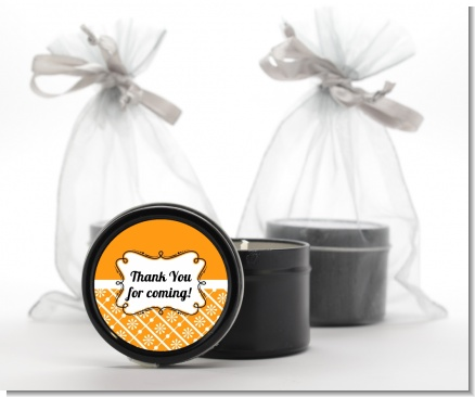 Modern Thatch Orange -  Black Candle Tin Favors
