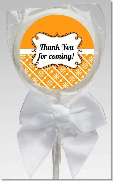Modern Thatch Orange - Personalized  Lollipop Favors