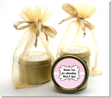 Modern Thatch Pink -  Gold Tin Candle Favors