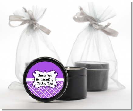 Modern Thatch Purple -  Black Candle Tin Favors